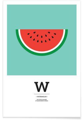 """The Food Alphabet"" - W like Watermelon - Premium Poster"
