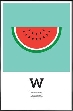"""The Food Alphabet"" - W like Watermelon - Affiche sous cadre standard"