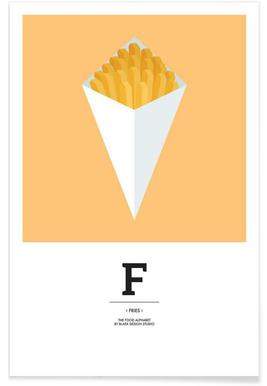 """""""The Food Alphabet"""" - F like Fries poster"""