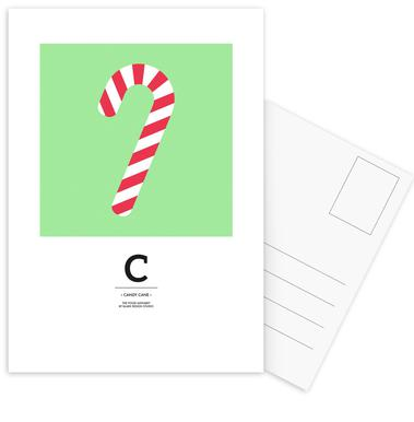 Food Alphabet Xmas Edition C Postcard Set