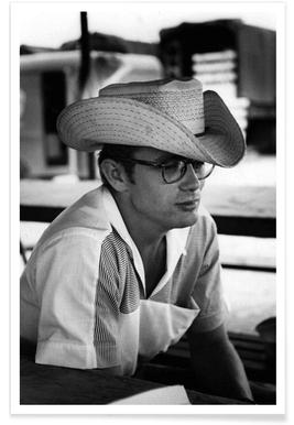 James Dean avec chapeau de cow-boy - Photographie affiche
