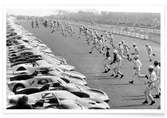 Départ des 24 heures du Mans - Photographie vintage affiche