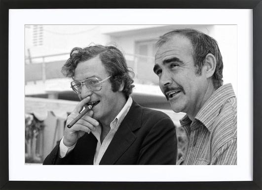 Michael Caine & Sean Connery on Set -Bild mit Holzrahmen