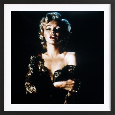 Marilyn Monroe wearing Black Lace -Bild mit Holzrahmen