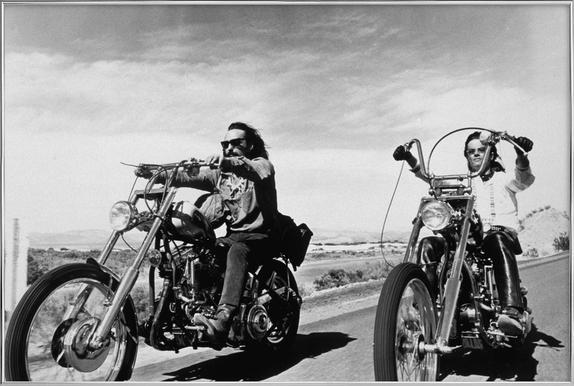Dennis Hopper & Peter Fonda, 'Easy Rider' poster in aluminium lijst