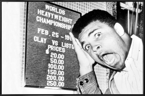 The New World Heavyweight Champion Cassius Clay, 26 February 1964 -Bild mit Kunststoffrahmen