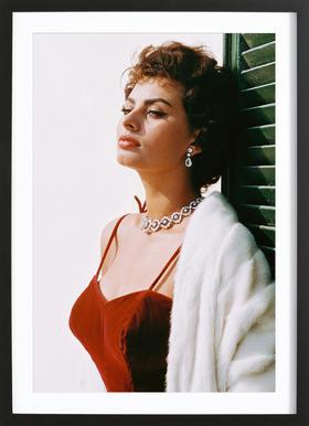 Sophia Loren in Red -Bild mit Holzrahmen