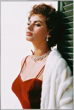 Sophia Loren in Red -Poster im Alurahmen