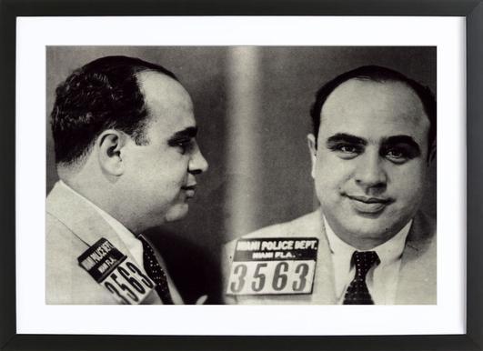 Al Capone's Mugshot -Bild mit Holzrahmen