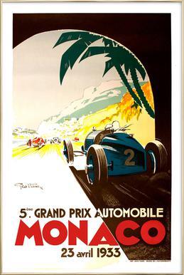 Vintage Monaco 23 April 1933 Poster in Aluminium Frame