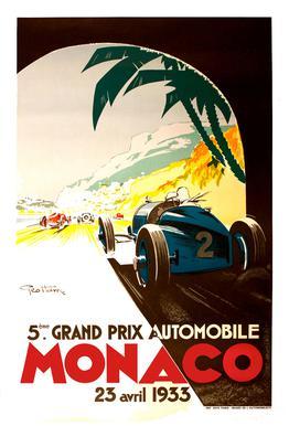 Vintage Monaco 23 April 1933 Aluminium Print