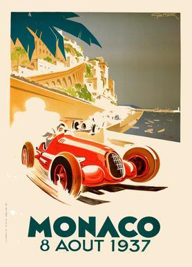 Vintage Monaco 8 August 1937 Canvas Print