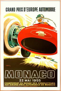 Vintage Monaco 22 May 1955 Poster in Aluminium Frame