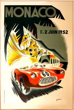 Vintage Monaco 1 June 1952 Poster in Aluminium Frame