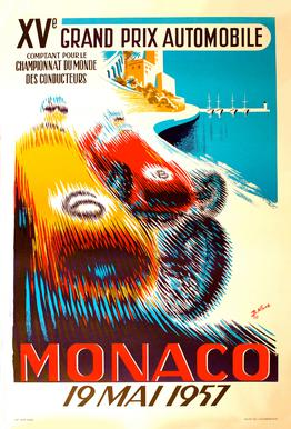 Vintage Monaco 19 May 1957 Aluminium Print