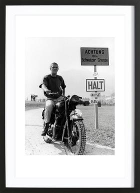 "Steve McQueen ""The Great Escape"" 1963  - Poster in Wooden Frame"