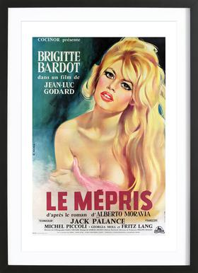 'Le Mepris' Retro Movie Poster Framed Print
