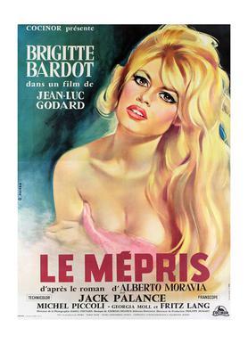 'Le Mepris' Retro Movie Poster -Leinwandbild