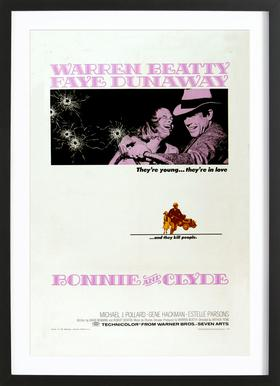 'Bonnie and Clyde' Retro Movie Poster Framed Print