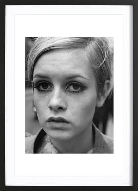 Twiggy, 1966 affiche sous cadre en bois
