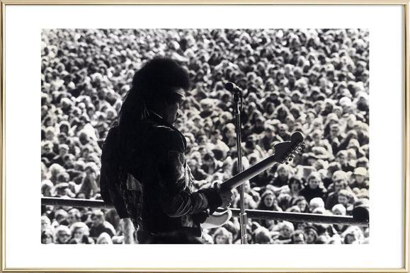 Jimi Hendrix -Poster im Alurahmen