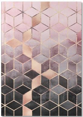 Pink Grey Gradient Cubes -Notizheft