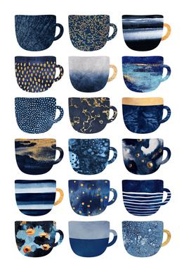 Pretty Blue Coffee Cups alu dibond