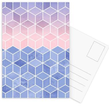 Rose Quartz and Serenity Cubes Postcard Set