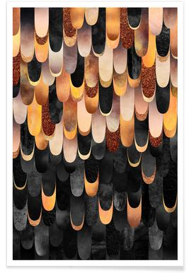 Feathered Copper & Black -Poster