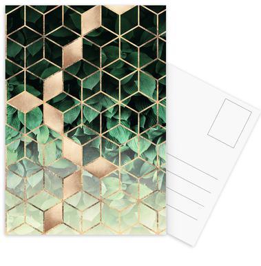 Leaves & Cubes -Postkartenset