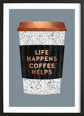 Life Happens - Coffee Helps 2 ingelijste print