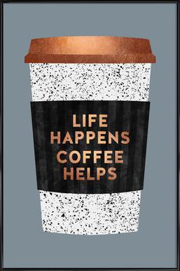 Life Happens - Coffee Helps 2 ingelijste poster