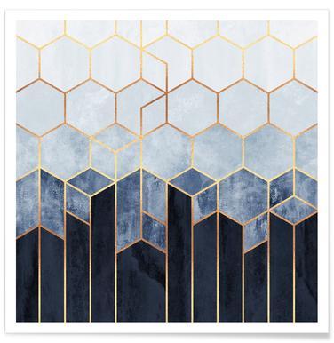 Soft Blue Hexagon -Poster