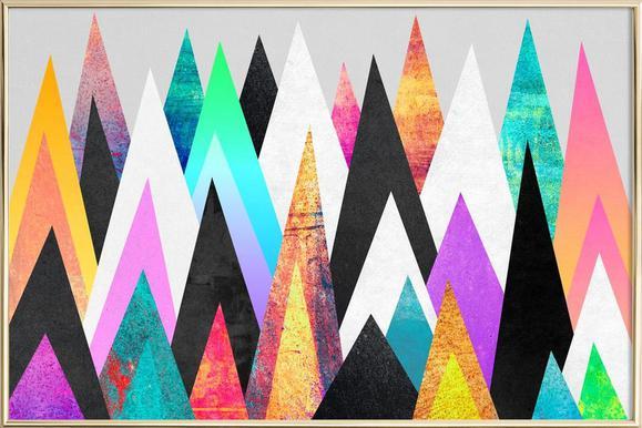 Colorful Peaks poster in aluminium lijst