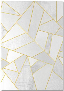 White Stone with Gold Lines Notebook