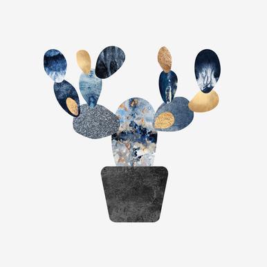 Blue and Gold Cactus -Leinwandbild