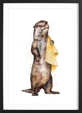 Otter affiche sous cadre en bois