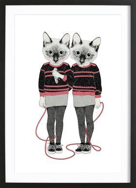 Siames Twins affiche sous cadre en bois