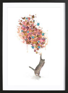 Catching Butterflies affiche sous cadre en bois