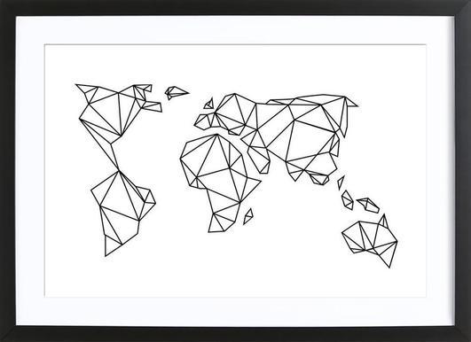Geometrische Erde - Poster in houten lijst