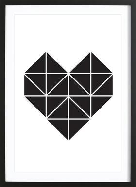 Origami Herz - Poster in houten lijst