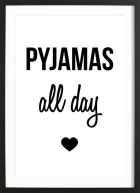 Pyjamas all day - Poster in houten lijst