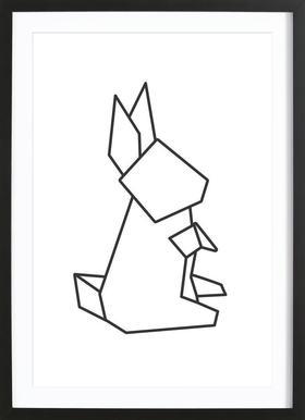 Origami Hase - Poster in houten lijst