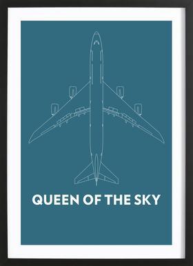 Queen of the Sky Boeing 747 -Bild mit Holzrahmen