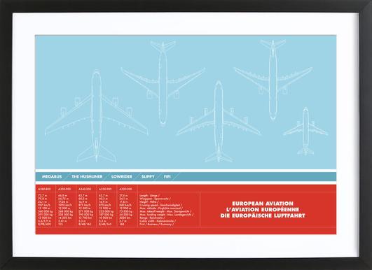 European Aviation -Bild mit Holzrahmen