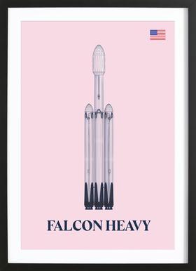 Falcon Heavy 3 -Bild mit Holzrahmen