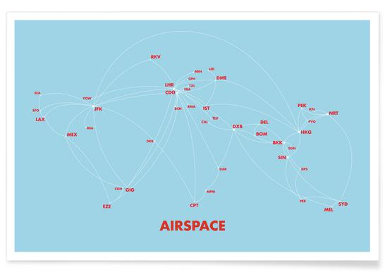 Airspace Map Blue - Premium Poster