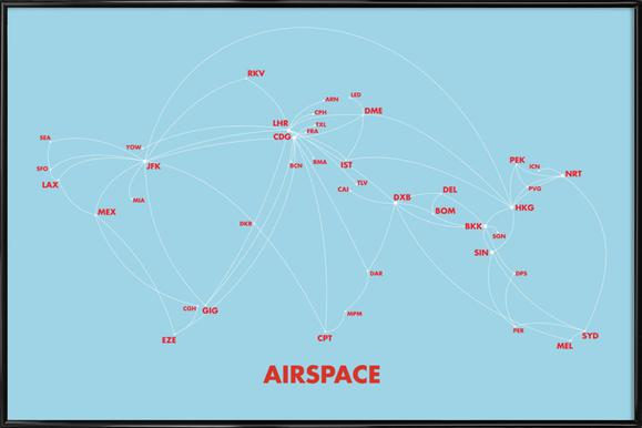 Airspace Map Blue - Poster in Standard Frame