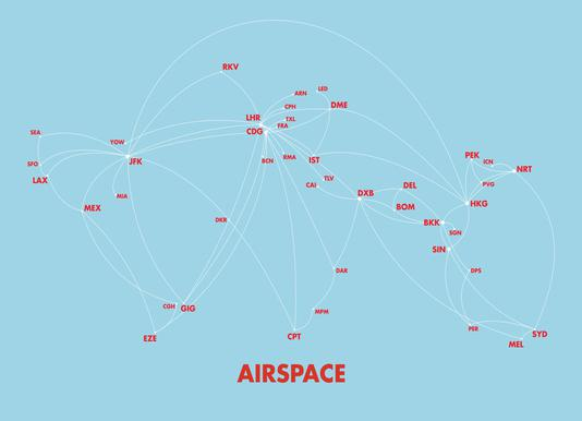 Airspace Map Blue Canvas Print