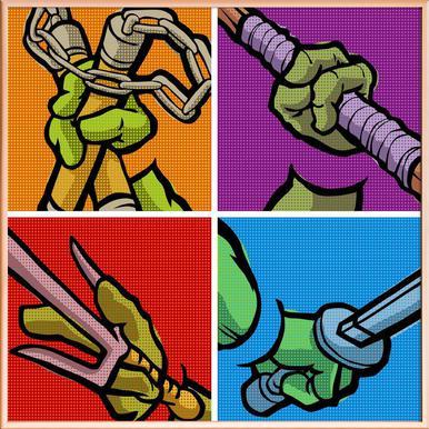 Lichtenstein Pop Martial Art Combo poster in aluminium lijst
